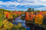 Aerial View of East Branch Pleasant River with Brilliant Fall Foliage, Brownville, ME
