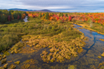 Aerial View of East Branch Pleasant River with Brilliant Fall Foliage and Freshwater Marsh, Brownville, ME