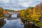 Low's Bridge (Wooden Covered Bridge) over Piscataquis River in Fall, Originally Built 1830, Rebuilt 1857 & 1990, National Historic Landmark, Guilford and Sangerville, ME