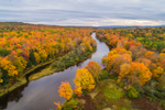 Aerial View of Piscataquis River in Fall near Low's Bridge, Guilford and Sangerville, ME