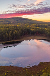 Aerial View of Sunrise over Sunday Pond in Fall, off Katahdin Woods and Waters Scenic Byway, Piscataquis County, T2R9 WELS, ME