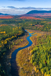 Aerial View of Lazy Tom Stream with Little and Big Spencer Mountains in Distance in Fall, Moosehead Lake Region, Piscataqius County, T1R13, WELS, ME