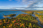 Aerial View of Islands in Moosehead Lake in Fall, off Moosehead Lake Scenic Byway, Beaver Cove Township, ME