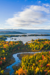 Aerial View of Mud Brook and Moosehead Lake in Fall, off Moosehead Lake Scenic Byway, Beaver Cove Township, ME