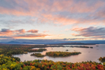 Aerial View of Moosehead Lake and Islands in Fall at Sunset, off Moosehead Lake Scenic Byway, Beaver Cove Township, ME