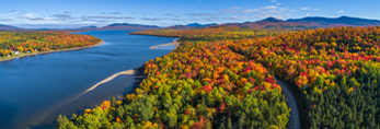 Aerial View of Fall Foliage along First Roach Pond, Moosehead Lake Scenic Byway, Kokadjo, Frenchtown Township, ME