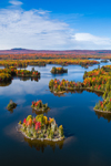 Indian Pond on Kennebec River in Fall, Moosehead Lake Region, off Moosehead Lake Scenic Byway, Big Moose Township, ME