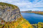 Close-up View of Rock Cliff on Mount Kineo with Moosehead Lake in Fall, Moosehead Lake Scenic Byway, Rockwood, Kineo Township, ME