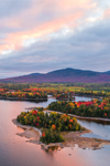 Calm Waters and Islands in Moosehead Lake at Sunrise in Fall, off Moosehead Lake Scenic Byway, Beaver Cove Township, ME