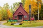 Historic Log Church, Rockwood Community Church, United Church of Christ, in Fall, Rockwood, ME