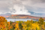 Moosehead Lake and Fog over Big Moose Mountain in Fall, View from Overlook on Moosehead Lake Scenic Byway, Greenville, ME