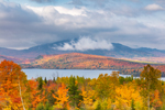 Moosehead Lake and Clearing Skies over Big Moose Mountain in Fall, View from Overlook on Moosehead Lake Scenic Byway, Greenville, ME