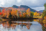 Diamond Peaks in Second College Grant, NH Reflecting in Small Pond on Magalloway River in Fall, View from Magalloway Plantation, ME