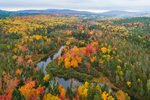 Aerial View of Parlin Stream in Fall, Moosehead Lake Scenic Byway, Long Pond Township, ME