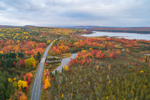 Aerial View of Parlin Stream, Long Pond on Moose River, and Moosehead Lake Scenic Byway in Fall, Long Pond Township, ME