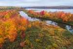 Aerial View of Parlin Stream and Long Pond on Moose River in Fall, Moosehead Lake Scenic Byway, Long Pond Township, ME