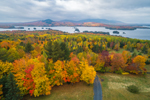 Aerial View of Moosehead Lake and Mountains in Fall, View from Overlook on Moosehead Lake Scenic Byway, Greenville, ME