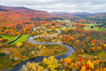 Aerial View of Magalloway River Winding through Mountains and Valley in Fall, Rangeley Lakes Region, Village of Wilsons Mills, Lincoln Plantation, ME