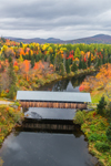 Bennett-Bean Bridge, Built 1898-1901 (aka Bennett Covered Bridge) Spanning Magalloway River in Fall, Rangeley Lakes Region, Village of Wilsons Mills, Lincoln Plantation, ME