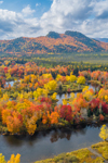 Aerial View of Diamond Peaks in Second College Grant, NH with Magalloway River in Foreground in Fall, View from Magalloway Plantation, ME