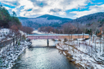 Historic Scott Covered Bridge (Built 1870) Spanning West River in Winter, Green Mountains Region, Townshend, VT
