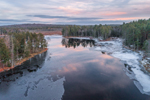 Aerial View of Lawrence Brook at Sunset in Winter, Royalston, MA