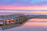 Sandwich Boardwalk Reflecting in Mill Creek at Sunrise, Cape Cod, Sandwich, MA