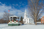 Gazebo with Garlands in Winter, Historic Hancock Meeting House and Congregational Church in Background, Hancock, NH