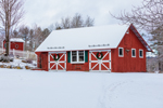 Red Barn with Wreaths after Snowfall, Jaffrey, NH