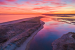 Colorful Sunrise over Marshes and Tidal Creek at Boardwalk Beach, Cape Cod, Sandwich, MA