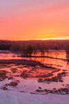 Colorful Winter Sunrise over Harvard Pond, Petersham, MA