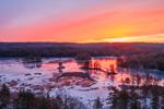 Colorful Winter Sunrise over Harvard Pond, Petersham, MA