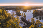 Aerial View of Whites Mill Pond at Sunset, Winchendon, MA