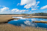 Herring River Winding through Marshes in Winter, Cape Cod, West Harwich, MA