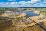 Aerial View of Herring River Winding through Marshes in Winter, Cape Cod, West Harwich, MA