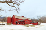Big Red Barn with Silo in Winter, Green Mountains Region, Arlington, VT