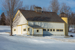 White Barn with Yellow Trim and Silo in Winter, Mount Holly, VT