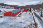 Big Red Barns and Stable on Farm in Winter, Green Mountains Region, Arlington, VT