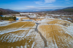 Aerial View of Rural Vermont Farmlands in Winter, Walllingford, VT