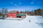Red Barn and Fields in Winter at Cielo Farm and Oberon Stables, Village of Millerton, Town of North East, NY