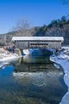 Worrall Covered Bridge Spanning Williams River in Winter, Village of Bartonsville, Rockingham, VT
