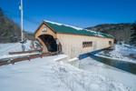 Bartonsville Covered Bridge Spanning Williams River in Winter, Village of Bartonsville, Rockingham, VT