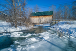 Bowers Covered Bridge (aka Brownsville Bridge) Spanning Mill Brook in Winter, Brownsville, VT