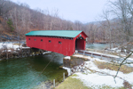 West Arlington Covered Bridge in Winter (aka Arlington Green Bridge, Bridge at the Green) Spanning Batten Kill, Arlington, VT