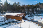Green River Pumping Station Covered Bridge in Winter, aka Eunice Williams Covered Bridge, Spanning Green River, Greenfield, MA