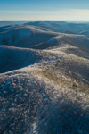 Aerial View of Taconic Mountains and Ice-covered Trees at Petersburgh Pass, Petersburgh, NY and Williamstown, MA