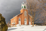 Pittsford Congregational Church in Winter under Dark Storm Clouds, Built 1837, Pittsford Green Historic District, Pittsford, VT