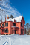 Historic Roseland Cottage in Winter, Built 1846, Woodstock, CT