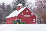 Red Barn and Tractor during Snowstorm, Ashby, MA