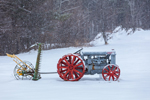 Antique Fordson Tractor with Sickle Bar Mower in Snowstorm, Ashby, MA